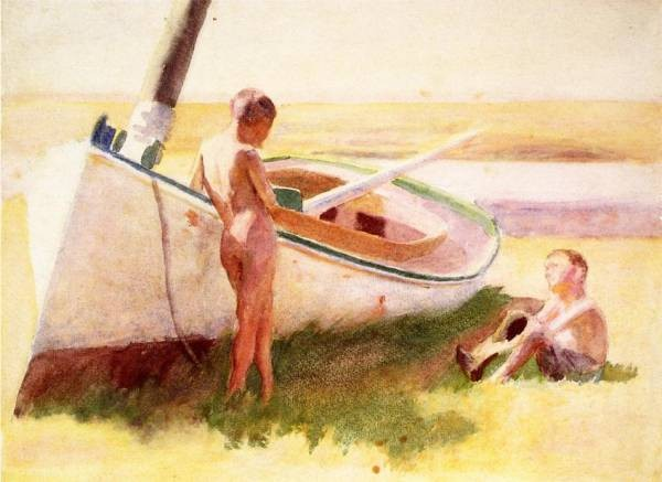 Two Boys by a Boat